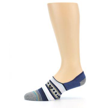 Image of Blue White Stripe Men's Liner Socks (side-2-11)