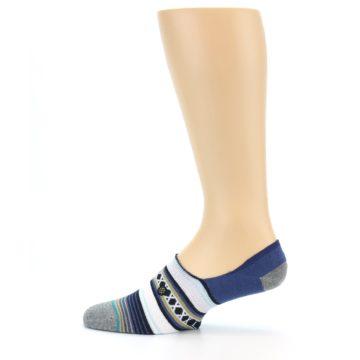 Image of Blue White Stripe Men's Liner Socks (side-2-12)