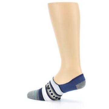 Image of Blue White Stripe Men's Liner Socks (side-2-13)