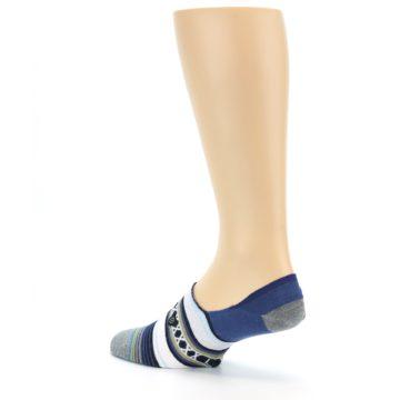 Image of Blue White Stripe Men's Liner Socks (side-2-back-14)
