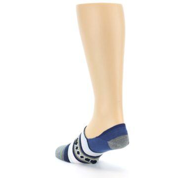 Image of Blue White Stripe Men's Liner Socks (side-2-back-15)