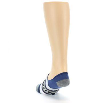 Image of Blue White Stripe Men's Liner Socks (side-2-back-16)