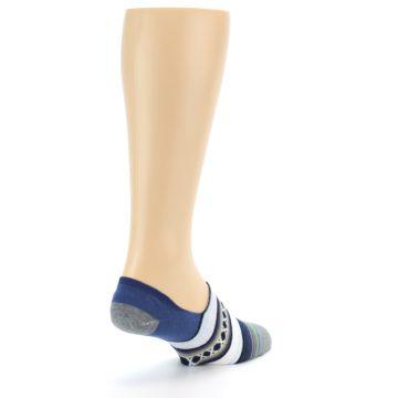 Image of Blue White Stripe Men's Liner Socks (side-1-back-21)