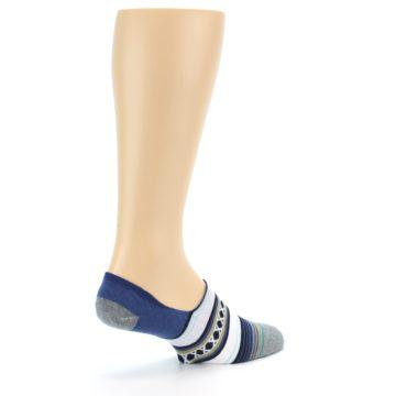 Image of Blue White Stripe Men's Liner Socks (side-1-back-22)