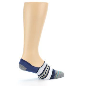 Image of Blue White Stripe Men's Liner Socks (side-1-23)