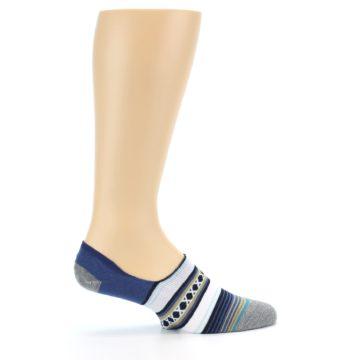 Image of Blue White Stripe Men's Liner Socks (side-1-24)