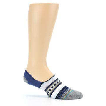 Image of Blue White Stripe Men's Liner Socks (side-1-25)
