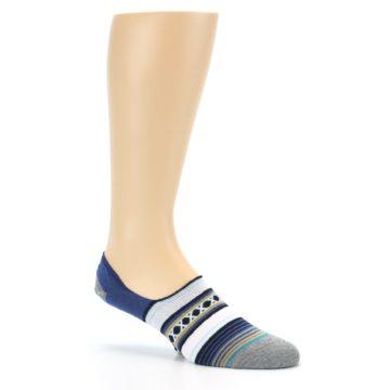 Image of Blue White Stripe Men's Liner Socks (side-1-26)