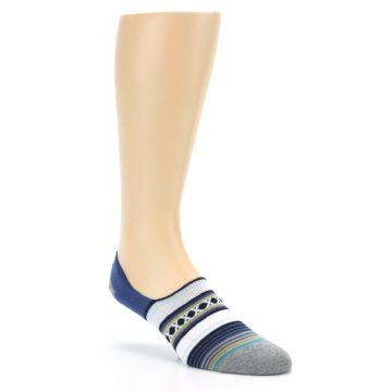 Image of Blue White Stripe Men's Liner Socks (side-1-27)