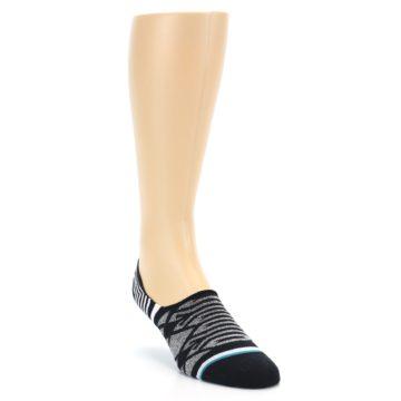 Image of Black Grey White Patterned Men's Liner Socks (side-1-front-02)