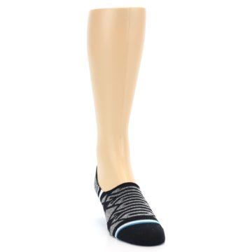 Image of Black Grey White Patterned Men's Liner Socks (side-1-front-03)