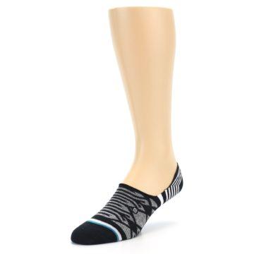 Image of Black Grey White Patterned Men's Liner Socks (side-2-front-08)