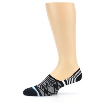 Image of Black Grey White Patterned Men's Liner Socks (side-2-11)