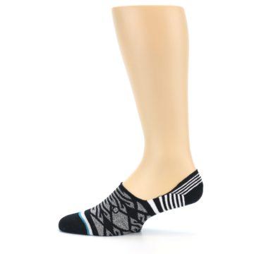 Image of Black Grey White Patterned Men's Liner Socks (side-2-12)