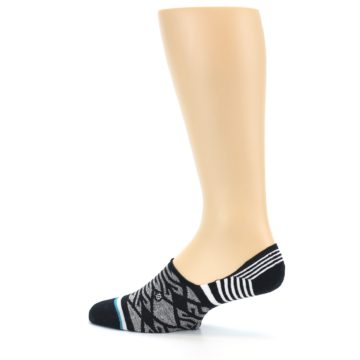 Image of Black Grey White Patterned Men's Liner Socks (side-2-13)