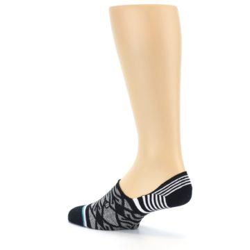 Image of Black Grey White Patterned Men's Liner Socks (side-2-back-14)