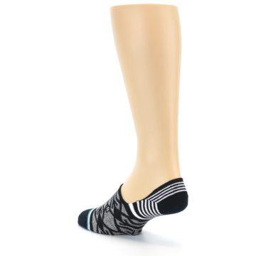 Image of Black Grey White Patterned Men's Liner Socks (side-2-back-15)