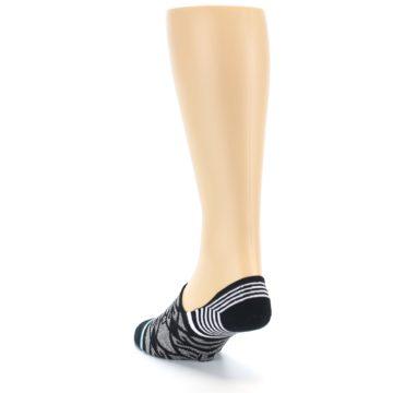 Image of Black Grey White Patterned Men's Liner Socks (side-2-back-16)