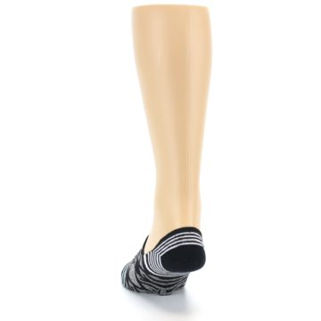Image of Black Grey White Patterned Men's Liner Socks (back-17)