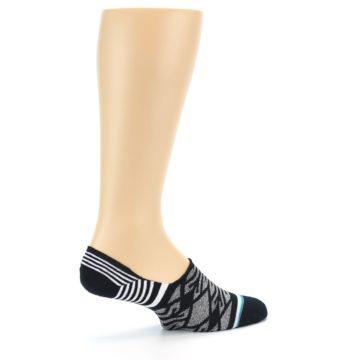 Image of Black Grey White Patterned Men's Liner Socks (side-1-23)