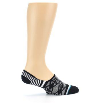 Image of Black Grey White Patterned Men's Liner Socks (side-1-24)
