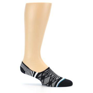 Image of Black Grey White Patterned Men's Liner Socks (side-1-25)