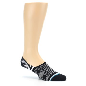 Image of Black Grey White Patterned Men's Liner Socks (side-1-26)