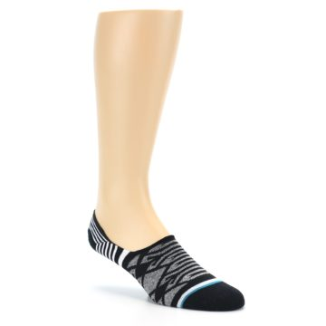 Image of Black Grey White Patterned Men's Liner Socks (side-1-27)