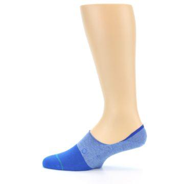 Image of Blue Solid Men's Liner Socks (side-2-12)