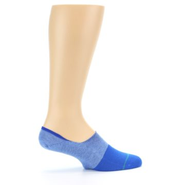 Image of Blue Solid Men's Liner Socks (side-1-24)