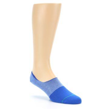 Image of Blue Solid Men's Liner Socks (side-1-27)