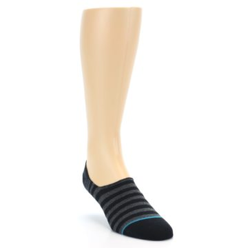 Image of Black Grey Stripe Men's Liner Socks (side-1-front-02)