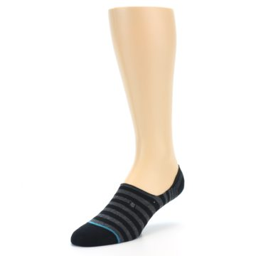 Image of Black Grey Stripe Men's Liner Socks (side-2-front-08)