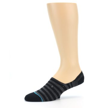 Image of Black Grey Stripe Men's Liner Socks (side-2-10)