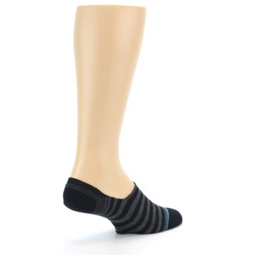 Image of Black Grey Stripe Men's Liner Socks (side-1-back-22)