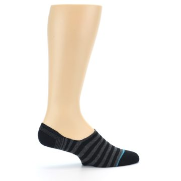 Image of Black Grey Stripe Men's Liner Socks (side-1-24)