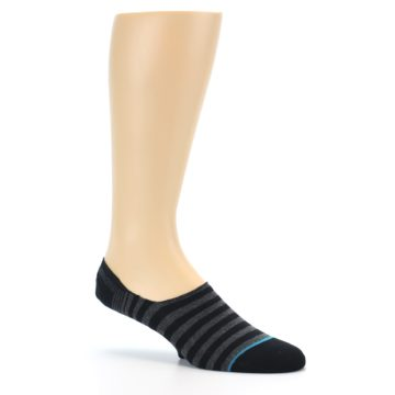Image of Black Grey Stripe Men's Liner Socks (side-1-26)