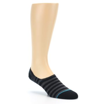 Image of Black Grey Stripe Men's Liner Socks (side-1-27)