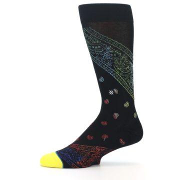 Image of Black Multi Paisley Men's Casual Socks (side-2-11)
