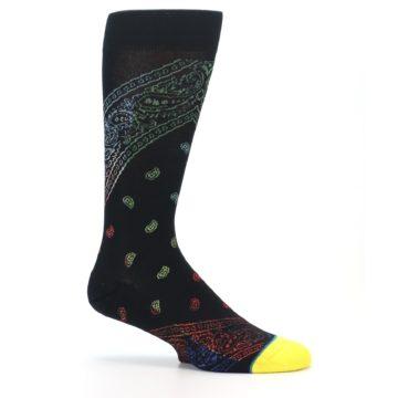 Image of Black Multi Paisley Men's Casual Socks (side-1-25)