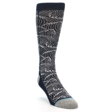 Image of Navy White Wave Pattern Men's Casual Socks (side-1-front-02)