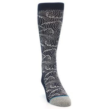 Image of Navy White Wave Pattern Men's Casual Socks (side-1-front-03)