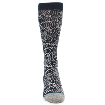 Image of Navy White Wave Pattern Men's Casual Socks (front-04)
