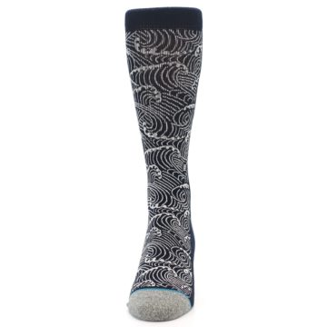 Image of Navy White Wave Pattern Men's Casual Socks (front-05)