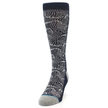 Image of Navy White Wave Pattern Men's Casual Socks (side-2-front-06)