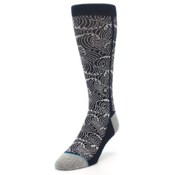 Image of Navy White Wave Pattern Men's Casual Socks (side-2-front-07)