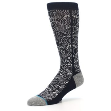 Image of Navy White Wave Pattern Men's Casual Socks (side-2-09)
