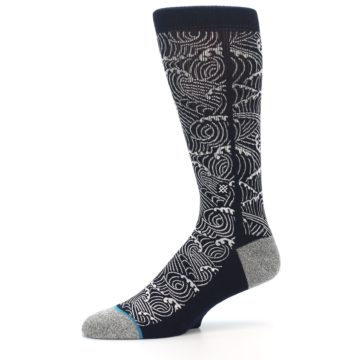 Image of Navy White Wave Pattern Men's Casual Socks (side-2-10)