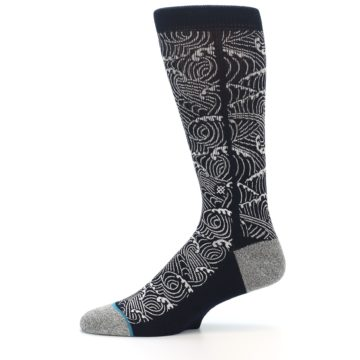 Image of Navy White Wave Pattern Men's Casual Socks (side-2-11)