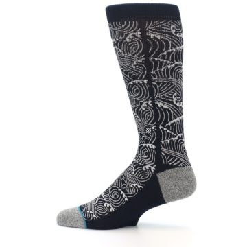 Image of Navy White Wave Pattern Men's Casual Socks (side-2-12)
